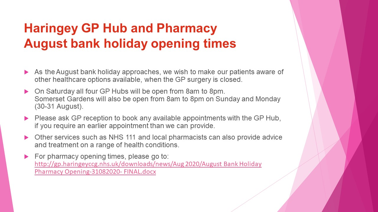 August bank holiday other care options