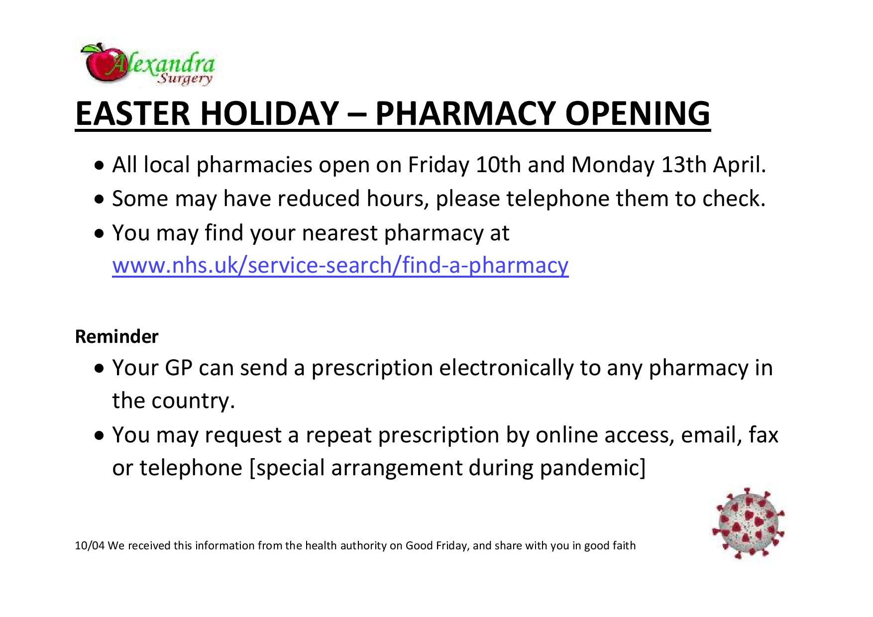 Easter pharmacy opening hours