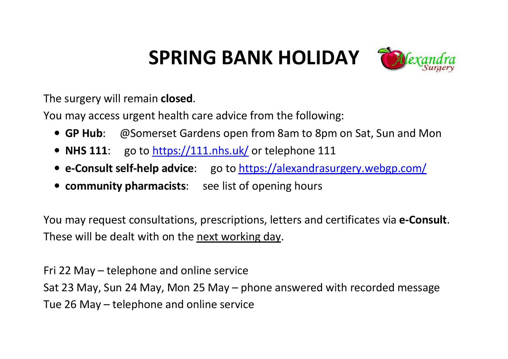 Spring bank holiday 2020 closed